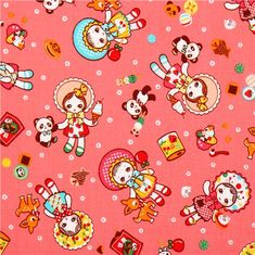 pink kawaii dolls toys panda Cosmo children fabric from Japan