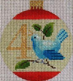 12 Days Bauble- 4 Calling Birds by Kirk & Bradley needlepoint canvas
