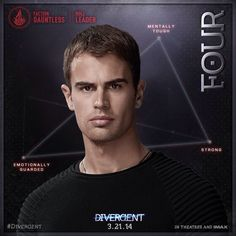 Four Divergent Movie, Movie Characters, Fictional Characters, Theo James, Divergent Necklace, Movies, Movie Posters, Facebook, Pictures