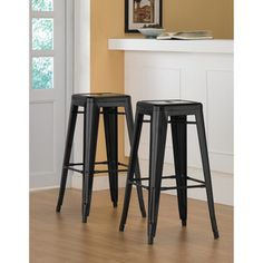 Tabouret 30-inch Black Metal Bar Stools (Set of 2) | Overstock.com