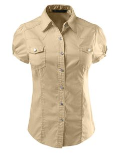 This cotton short sleeve button down shirt is made of a lightweight and breathable material for comfort. It goes perfectly with denim pants for a cute casual outfit or with a high waisted skirt for work attire. Feature - 97% Cotton / 3% Spandex - Lightweight and breathable material for comfort - 2 Front pockets / Cuff sleeves for style - Front and back detail stitching - Hand wash cold or dry clean - Please look at the measurements below for guidance Sizing Info - Small- Bust: 34in Shoulder…