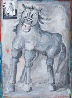 EUGENIUSZ MARKOWSKI (1912 - 2007)  KOŃ, OK. 1980   olej, płótno / 100 x 74 cm  sygn. p.d.: E. Markowski