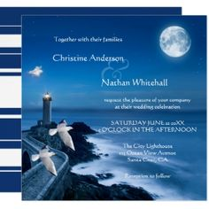 Romantic destination or nautical wedding invitation featuring a painting of a lighthouse and an ocean by night with a full moon and starry sky with happy seagulls