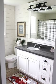 Simple Farmhouse Christmas Bathroom Using Shiplap Quartz Countertops White Shaker Cabinets Oil Rubbed Bronze Hardware And Chrome Faucets By Ashleydsp