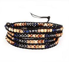Chen Rai Four Row Lapis and Jasper Wrap Bracelet, $28