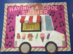 Check out this cool bulletin board idea celebrating summer! Preschool Bulletin Boards, Classroom Bulletin Boards, Preschool Classroom, Classroom Themes, Preschool Crafts, Holiday Classrooms, Kids Crafts, Door Bulletin Boards, Summer Bulletin Boards