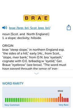 The best word I've seen today on Words with Friends is 'brae'. Can you come up with a better one?