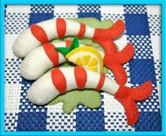 Wool Felt Play Food - Jumbo Shrimp - Waldorf Inspired Kitchen Play Set Accessory for Imaginative Play