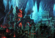 Gauntlgrym Forge, Chris Dien on ArtStation at… Fantasy City, Fantasy Castle, Fantasy Places, High Fantasy, Fantasy World, Fantasy Art Landscapes, Fantasy Landscape, Dwarven City, Dragon Rpg