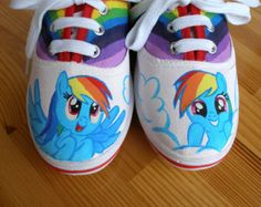 Hand painted Children My Little Pony shoes, Rainbow Dash Any size, color, character and design