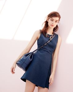 J.Crew women's mesh wrap dress in dark navy and the Downing bucket bag in deep navy. (May be too short)
