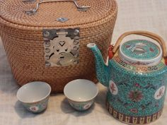 Antique Vintage Chinese Painted Porcelain Aqua Lotus Tea Set Basket Teapot Cup | eBay