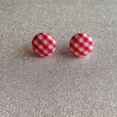 Picnic Fabric Button Earrings by TwoLittleBoats on Etsy