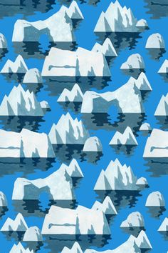 Icebergs Pattern by Tatushi Eto. #illustration #drawing #pattern