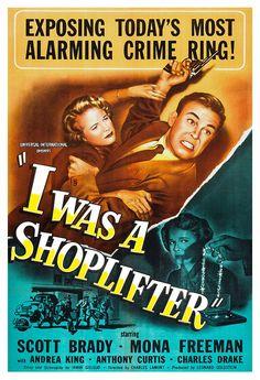 Good god! I Was A Shoplifter - Home Theater Decor - Crime Drama Movie Poster Print  13x19 - Vintage Movie Poster - 50s kitsch - b movie via Etsy