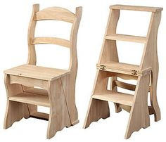 I'm going to try to do a tiny house furniture post at least once per week. This will be a good way to show everyone what's already out there as far as tiny house furniture goes. Today I… Unfinished Furniture, Solid Wood Furniture, Home Furniture, Furniture Plans, Ladder Chair, Ladder Back Chairs, Tiny House Furniture, Do It Yourself Furniture, Tiny Spaces