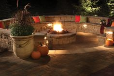sunken fire pits with seating | the sunken fire pit area is a 20 foot diameter