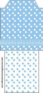 Poá Azul e Branco - Kit Completo com molduras para convites, rótulos para guloseimas, lembrancinhas e imagens!