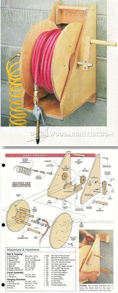 Portable Hose Reel - Workshop Solutions Plans, Tips and Tricks | WoodArchivist.com #woodworkingbench