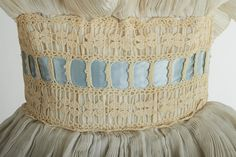 File:Heiress' dress 1957 by Sybil Connolly - Waist Detail. Ivory Silk, Blue Satin, Irish Crochet, Crochet Motif, Fairytale Gown, Period Outfit, Future Fashion, Industrial Style, Swatch