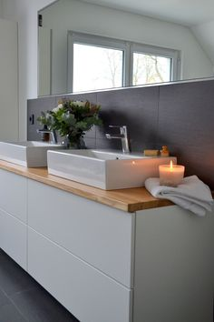 Unser Ikea-Hack macht aus – home acssesories Ikea Hack Bathroom, Kitchen Ikea, Small Bathroom, Bathroom Ideas, Budget Bathroom, Ikea Furniture, Bathroom Furniture, Bathroom Interior, Wooden Furniture
