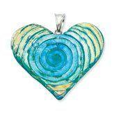 Sterling Silver Yellow Blue Green Dichroic Glass Heart Pendant - JewelryWeb JewelryWeb. $52.60. Save 50%!
