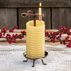 You set the amount of time it burns - and when the time's up, this candle politely puts itself out.        Feed beeswax coil through patented safety clip in increments of 3 or less      Up to an hour of worry-free, bright candlelight      When the coil burns down to the clip, it automatically extinguishes      Natural beeswax is odorless and non-polluting