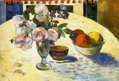 Flowers in a fruit bowl, 1894 - Paul Gauguin - WikiArt.org