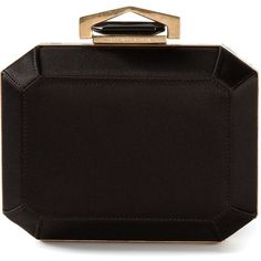 Alexander McQueen Art Deco Box Clutch (£1,225) ❤ liked on Polyvore featuring bags, handbags, clutches, purses, black, alexander mcqueen purse, black clutches, black handbags, black purse and chain strap purse