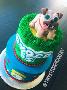 Puppy Pals Cake - sculpted Rolly topper     Www.facebook.com/tinykitchencakery