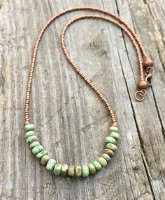 Rustic turquoise necklace, turquoise jewelry, green turquoise and copper necklace, boho turquoise jewelry