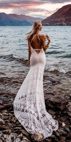 33 Absolutely Gorgeous Destination Wedding Dresses ❤ destination wedding dresses lace low back sleeveless with train rue de seine bridal ❤ See more: http://www.weddingforward.com/destination-wedding-dresses/ #weddingforward #wedding #bride