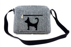 Felt purse Cat handbag Gift Black cat Gray bag Felt bag Designer handbag Felt shoulder bag by Torebeczkowo on Etsy