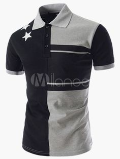 Personality Color Splicing Turn-down Collar Fitted Short Sleeves Polyester T-Shirt Mens Polo T Shirts, Short Sleeve Polo Shirts, Shirt Men, Camisa Polo, Casual T Shirts, Cool T Shirts, Polo Shirt Design, Basic Shorts, Striped Polo Shirt