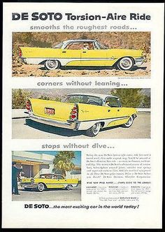 "paperink id: ads9500 DeSoto AD 1957 Fins Yellow White Modern Car Magazine Advertisement ORIGINAL PERIOD Magazine Advertisement AD measuring approximately 8"" x 11"" Very Good Condition as shown. Great 5"