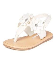 White Glitter Floral T-Strap Sandal