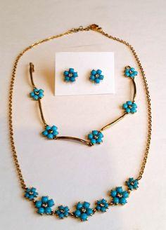 MMA Metropolitan Museum of Art Floral Turquoise Necklace Bracelet Earrings Set #MMAMetropolitanMuseumofArt
