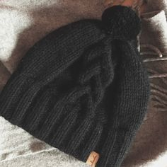 Black hand knitted hat