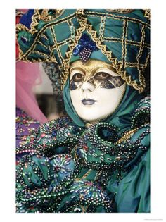 Mask and Costume, Venice, Italy Photographic Print