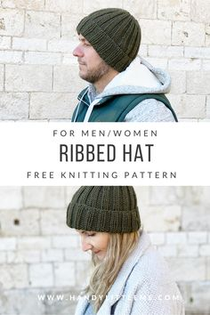 This ribbed beanie knitting pattern is a really easy knit, making a ribbed mariner's hat for a man or woman to wear. Knit Hat Pattern Easy, Beanie Knitting Patterns Free, Easy Knit Hat, Beanie Pattern Free, Easy Knitting, Knitting Stitches, Knitted Hats, Free Pattern, Knit Patterns