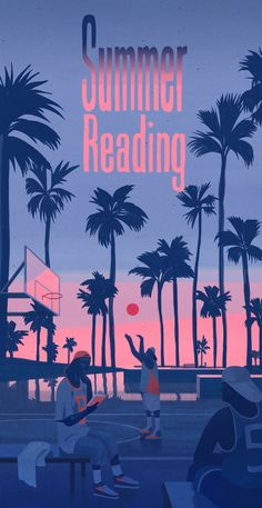 Wall Street Journal summer reading Emiliano Ponzi color scheme, light and shadow Poster Retro, Vintage Poster, Design Poster, Graphic Design, Art Vintage, Aesthetic Images, Summer Design, Flat Illustration, Pattern Illustration