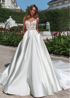 Buy discount Wonderful Tulle & Satin Bateau Neckline A-line Wedding Dress With Beaded Lace Appliques & Pockets at Dressilyme.com