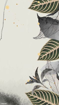 Detailed botanical gold leaf mobile phone wallpaper vector | premium image by rawpixel.com / Noon