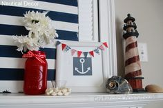 Nautical Mantel in Blue, Red and White with Lighthouse, Stripes and Anchor Art.