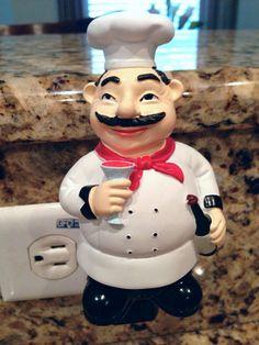 french bistro kitchen decor | ... Voom Eyes Fat French Chef Wine Night Light Kitchen Bistro Home Decor