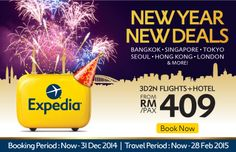 Grab the hold of #New#year#deals on Expedia - 3D2N hotel plus flight starting @ RM409 only. To get the deal click:- http://bit.ly/1vbf5ei