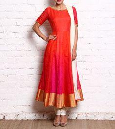 Orange & Pink Raw Silk Anarkali With Churidars And Dupatta