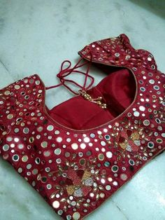 Sparkling Fashion: Latest Mirror work blouse designs
