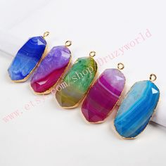 3&5Pcs Pretty Smooth Surface Cutting Gold Plated Oval Rainbow Onyx Agate Druzy Geode Charm Natural Druzy Charm For DIY Jewelry Making G0377 by Druzyworld on Etsy