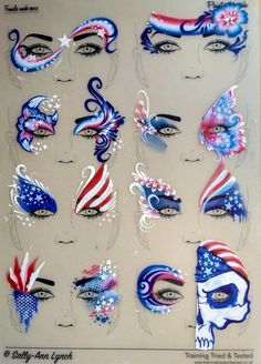 Pin by abby hill on art face painting designs, adult face pa Face Painting Tips, Face Painting Designs, Painting For Kids, Paint Designs, Face Painting Tutorials, Face Paintings, 4th Of July Makeup, Face Paint Makeup, Eye Makeup
